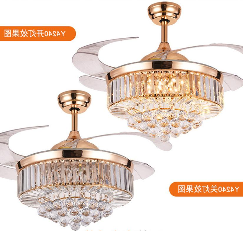 42'' Modern Crystal Ceiling Fan with Light Luxury LED Chande