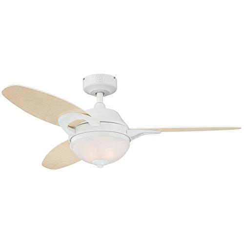 46 Arcadia 3 Blade Ceiling Fan with Remote - Finish: White w
