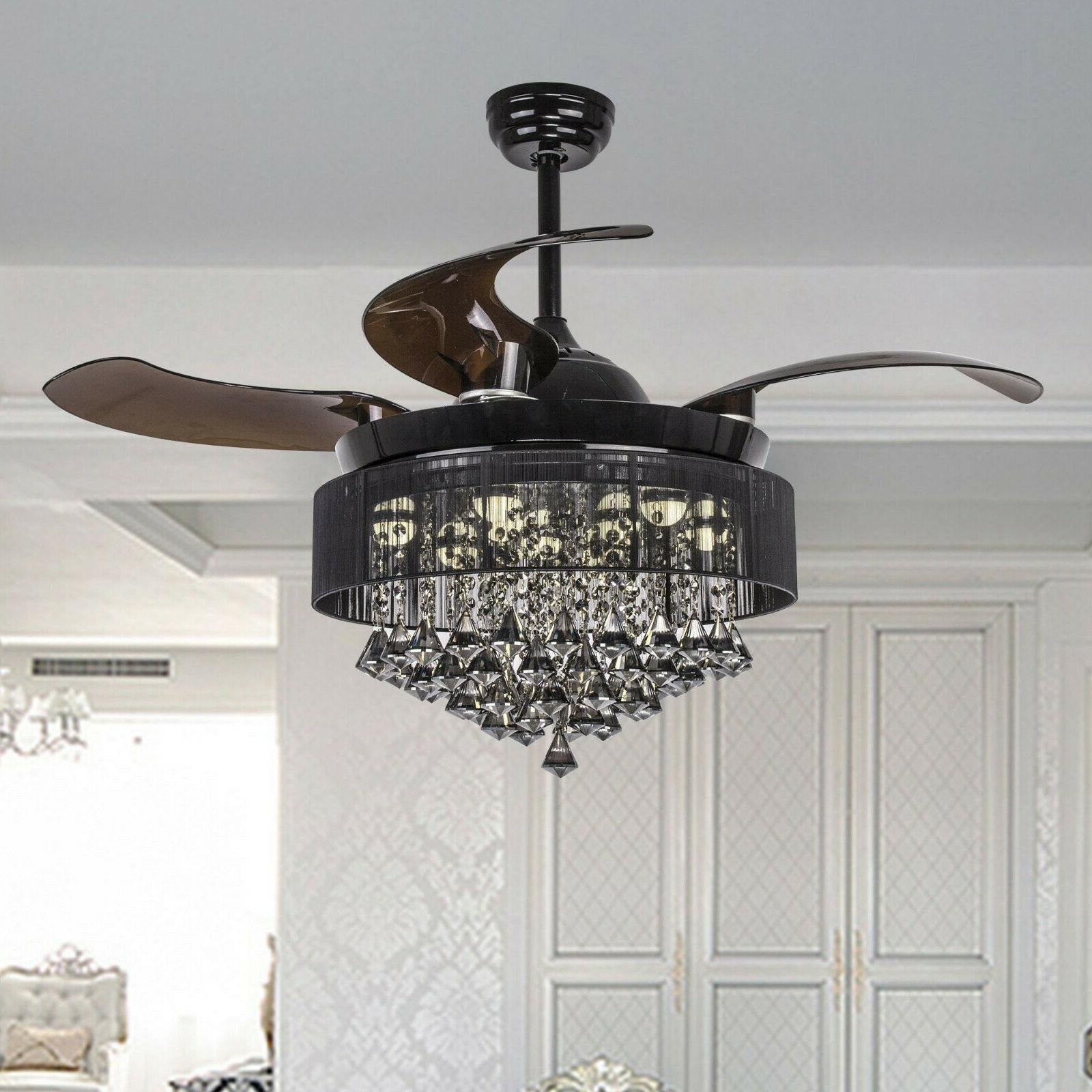"""46"""" Crystal Ceiling Fan Lights Remote Retractable 4 Blades M"""