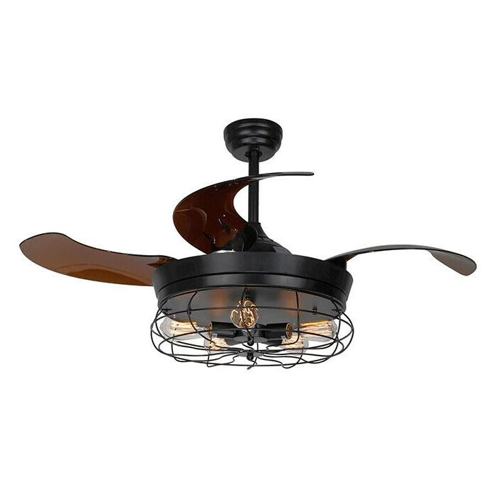 """46"""" Rustic Ceiling Fan with Light Remote Control Retractable"""