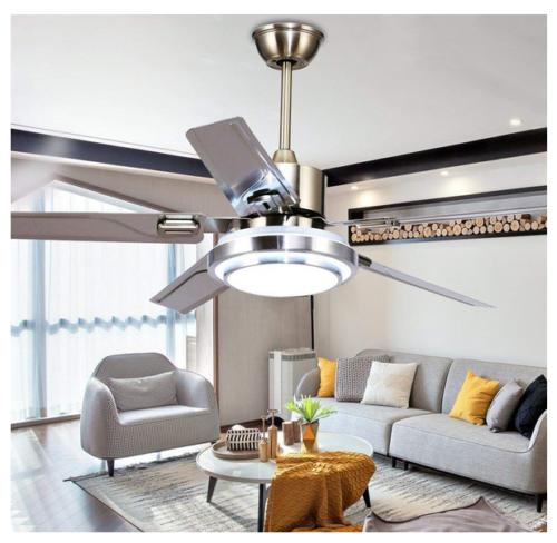 Stainless Ceiling Fan Lamp 3-Light Dimmable Chandeliers w/ R
