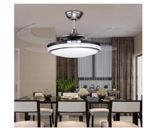 "48"" Retractable Frosted Glass Shade Ceiling Fan Lamp LED Dim"