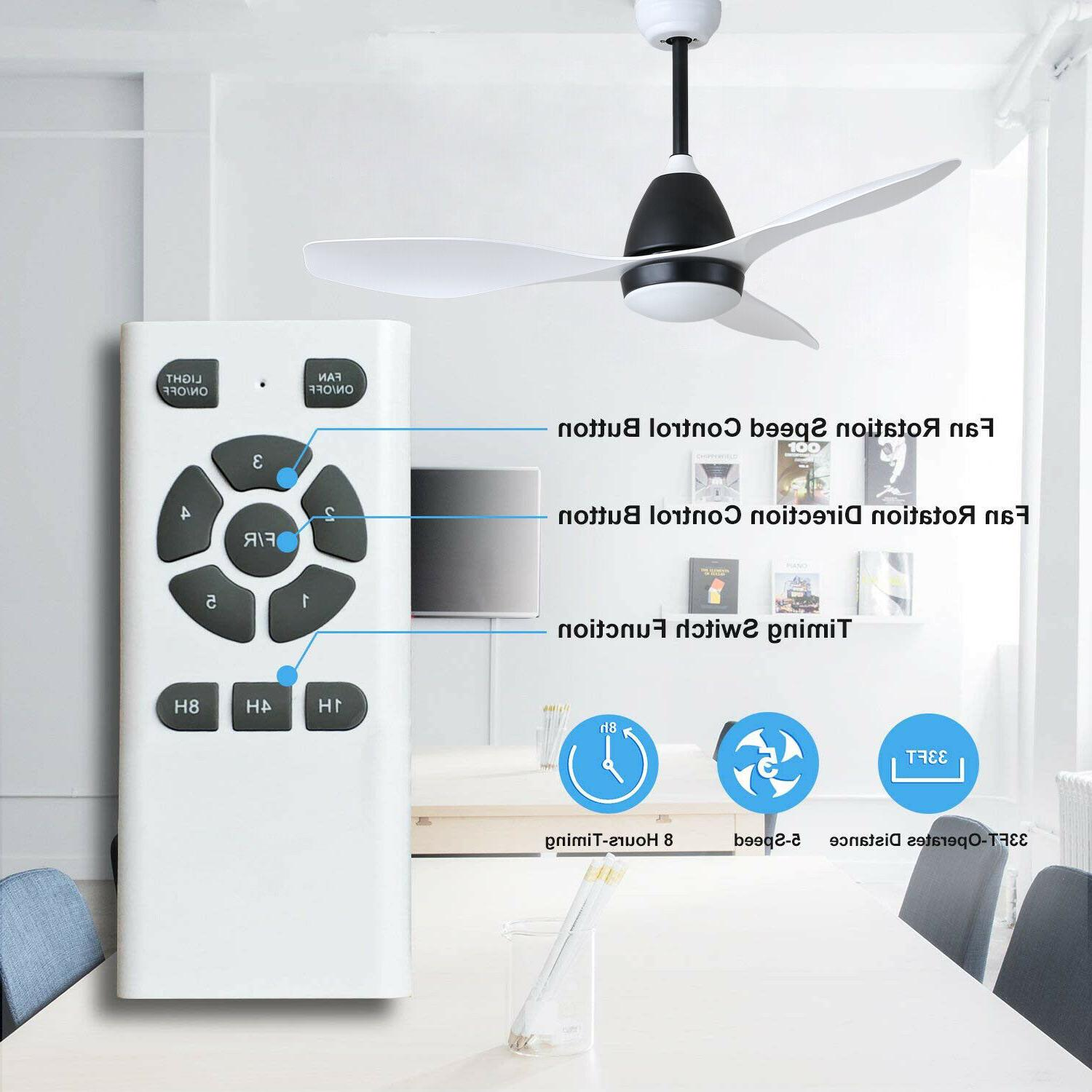"""48"""" White Ceiling Fan with Light Remote DC Motor, 3 Light"""