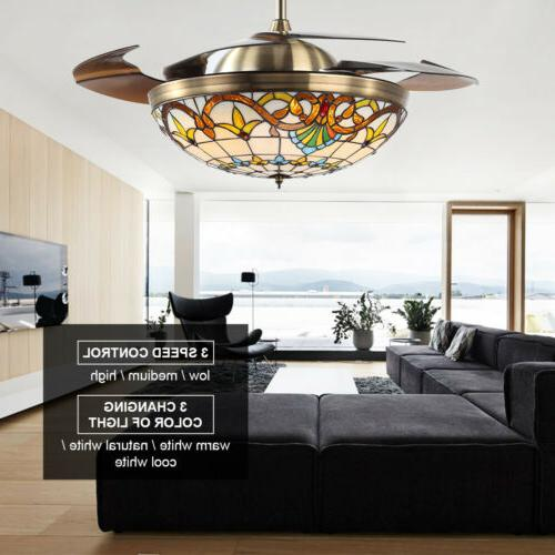 "42"" Ceiling Fan 4 Blades LED Ceiling Fan Light Remote Contro"