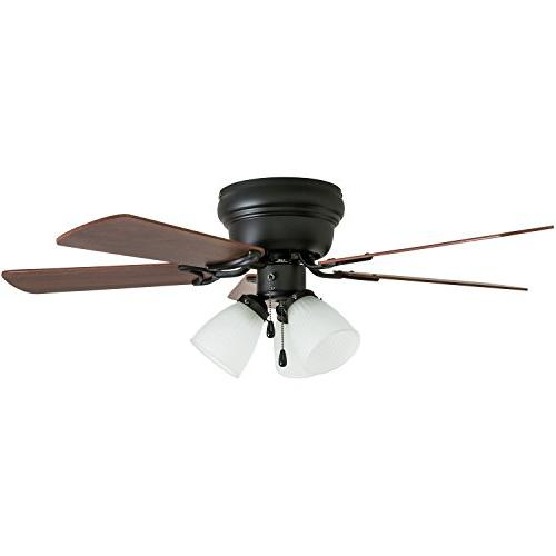 Prominence Hugger Fan with 3 Fixture, LED Low-Profile/Flush-mount, Warm Bronze