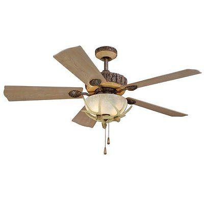 "52"" 2 Light Rustic Antler Ceiling Fan, New! Hunting Lodge Ca"
