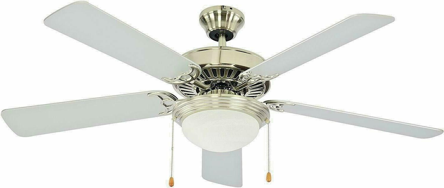 """5 white blade 52"""" brushed nickel ceiling fan with frosted al"""