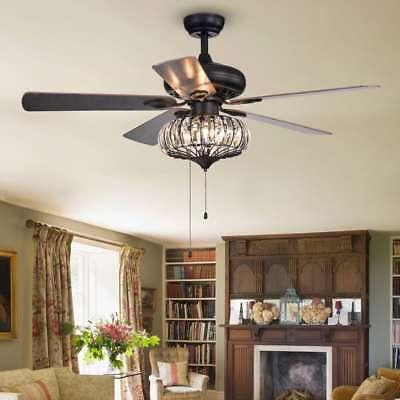 "52""  3-Light Ceiling Fan Traditional Crystal 5-Blade Downrod"
