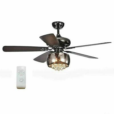 "52"" LED Indoor Bronze Ceiling Fan with Light Kit Farmhouse D"