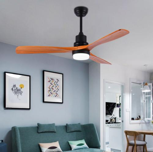 """52"""" Ceiling Fan With Light 3 Wood Blades Delta-Wing Bronze L"""