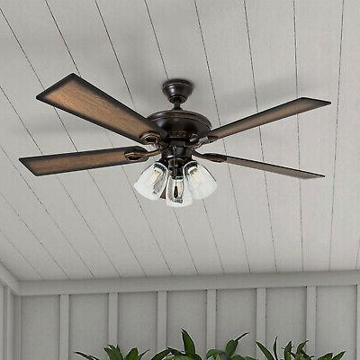 """52"""" Rustic Three Light LED Ceiling Fan In Oil Rubbed Bronze"""