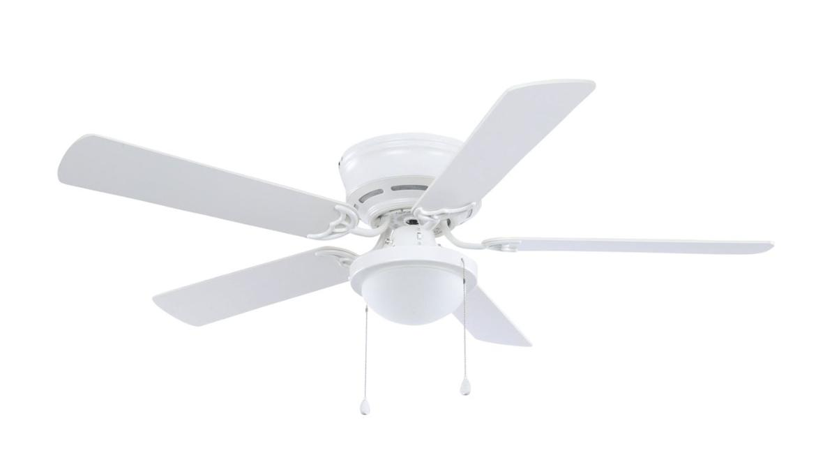 52in White LED Flush Mount Ceiling Fan 5 Blade Harbor Breeze Armitage NEW