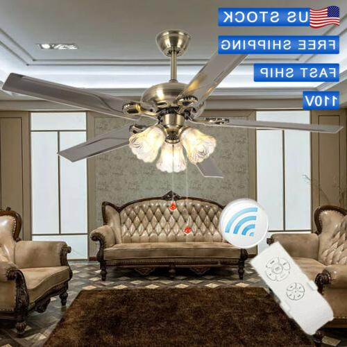 52inch Fan Lamp Remote Light Steel Chandelier