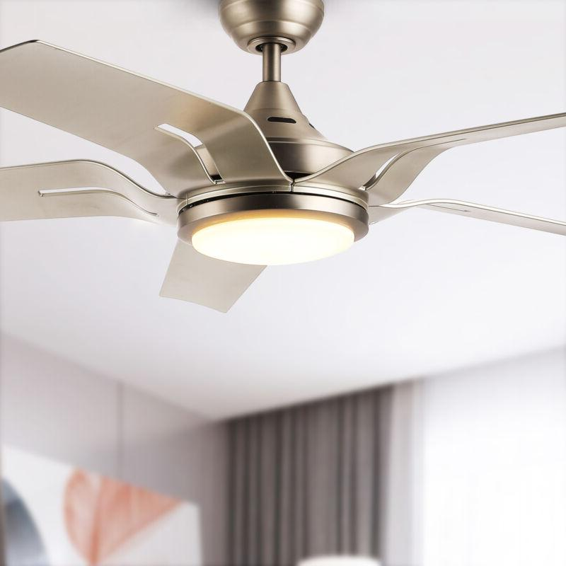 56 contemporary ceiling fan brushed nickel led