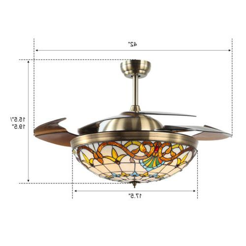 LED Ceiling Fan Chandelier Lamp Blade Tiffany Baroque Style