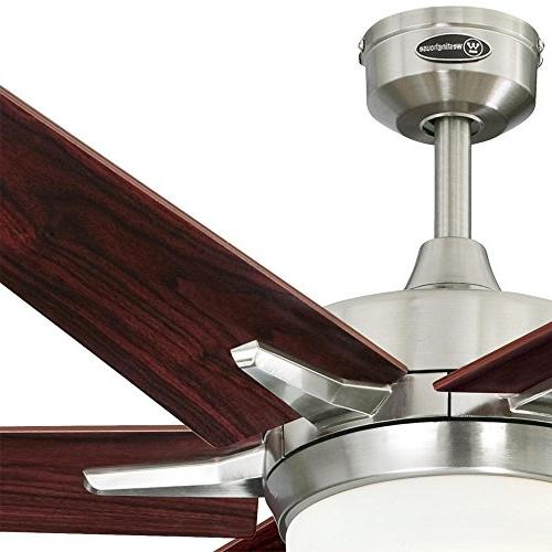 Westinghouse 60-inch Brushed Ceiling Fan, Dimmable LED Light Kit Frosted Glass