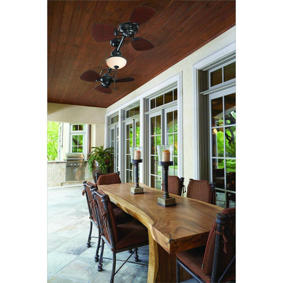 "74"" Ceiling Fan Outdoor Double Downrod Mount Reverse AirFlow"