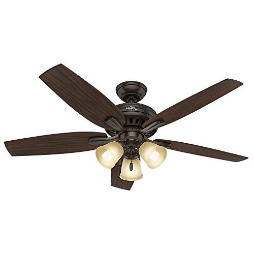 "Hunter 53317 Newsome Ceiling Fan with Light, 52""/Large, Prem"