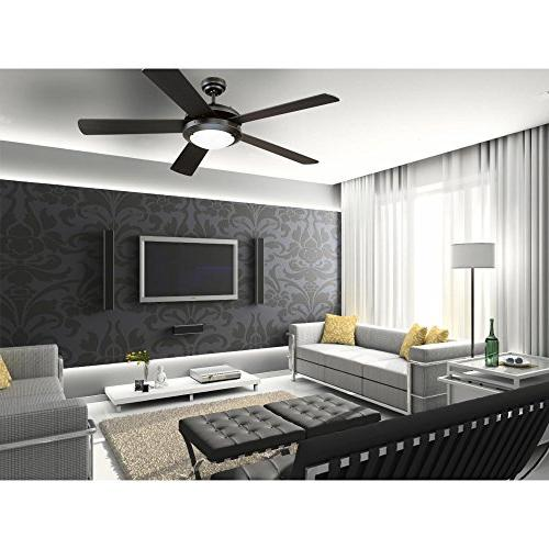 Westinghouse Matte Black Indoor Fan, Kit with Frosted Glass