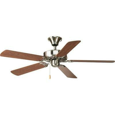 "Progress Lighting Airpro 52"" Brushed Nickel Ceiling Fan w/ 5"
