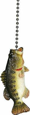 BASS Fish CEILING FAN PULL Chain Light Lamp Fishing Cabin De