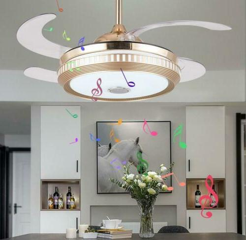 Bluetooth Ceiling LED Dimmable Remote Retractable Blade