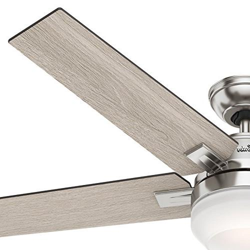 """Hunter 54"""" Brushed Contemporary Ceiling with Cased White"""