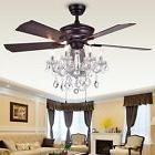 Ceiling Fan with Crystals Chandelier Fancy Light Living Room