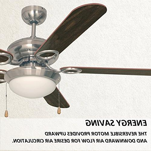 Ustellar 52 Fan, UL Listed, Classic Fans with Brown Blades and Light for Winter and Summer Use