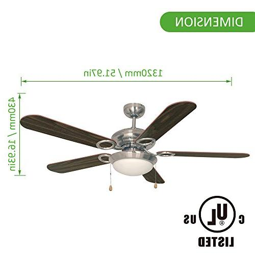 Ustellar 52 Inch Ceiling Fan, UL Listed, with Blades Light Winter Summer Use
