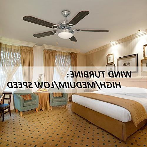 Ustellar 52 Ceiling Fan, Reversible Classic Fans with Blades and Frosted Light and Summer Use