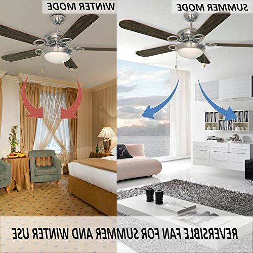 Ustellar Inch Ceiling Fan, UL Listed, Classic with Wooden Blades and Light for Winter Summer
