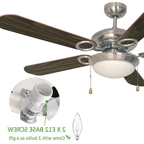 Ustellar 52 Fan, UL Listed, with Wooden Blades and Light for Summer