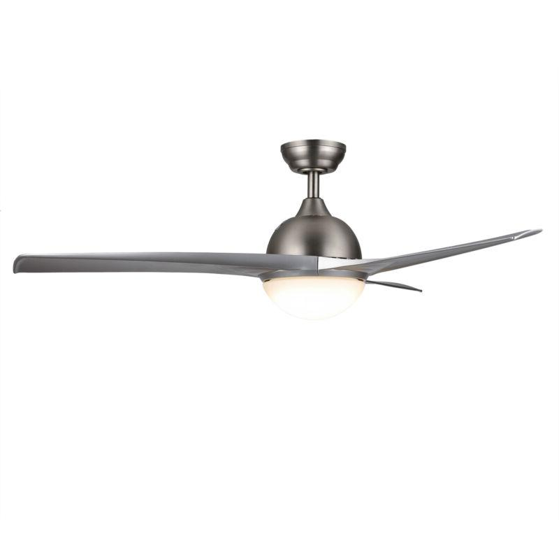 Contemporary Ceiling Fan LED Light& Remote Brushed Finish