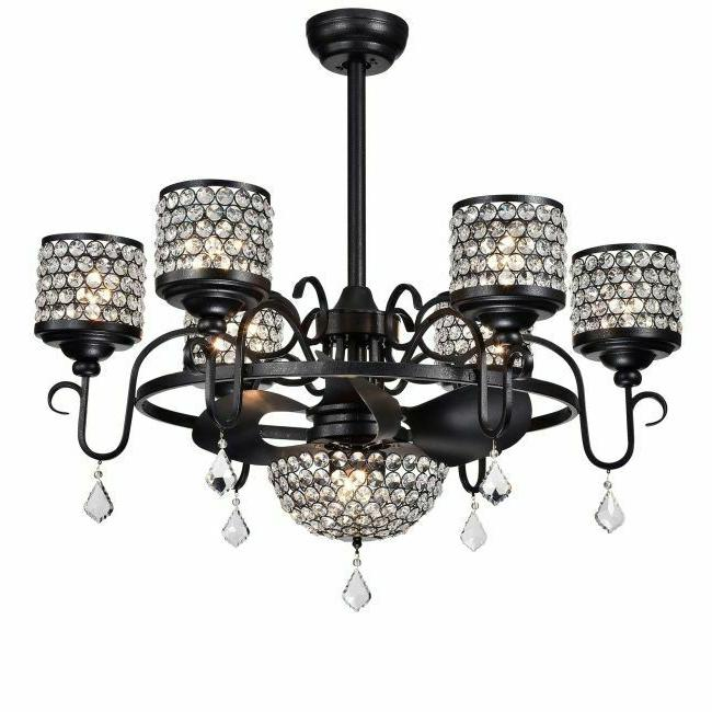 Ceiling Lights Crystal Chandelier Light Fixture Remote Drop