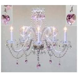Chandelier Lighting With Crystal Pink Hearts