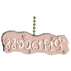 Childrens Little Girl Pink Princess Ceiling Fan Pull Chain