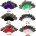 Chinese Folding Feather Hand Fan Costume Peacock Eye Wedding