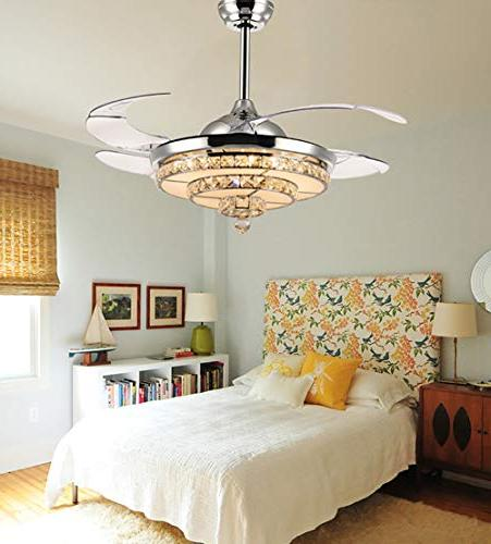 Siljoy Chrome Retractable Ceiling Fans Lights Chandelier Dimmable