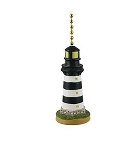 Coastal Black and White Lighthouse Ceiling Fan or Light Pull