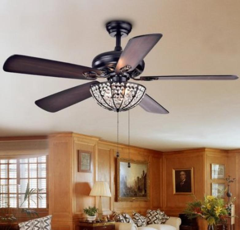 Crystal Ceiling Fan and Lighting Fixture, Tiffany Style Chan