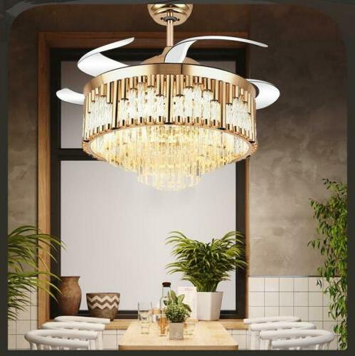 """42""""Crystal LED 3-Color Change Chandeliers Gold Invisible Cei"""