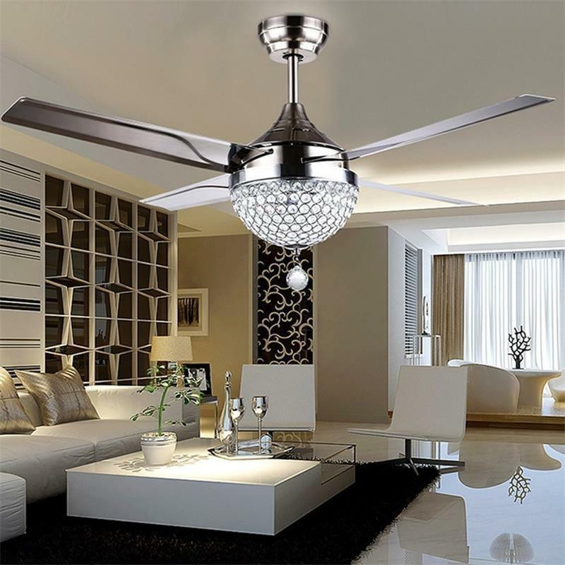 Invisible Crystal Ceiling Fan Light Lamp Chandelier Remote C