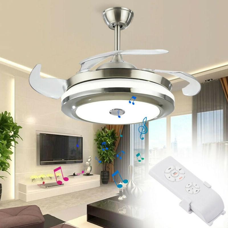 "Modern 42"" Reversal Ceiling Fan Lamp Bluetooth Speaker LED C"