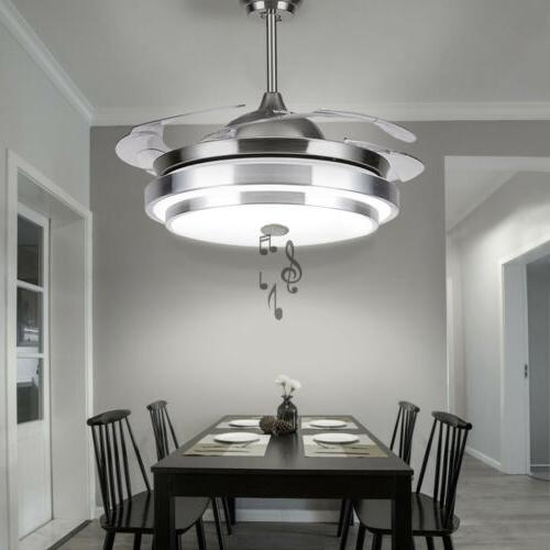 42 invisible ceiling fan light bluetooth modern