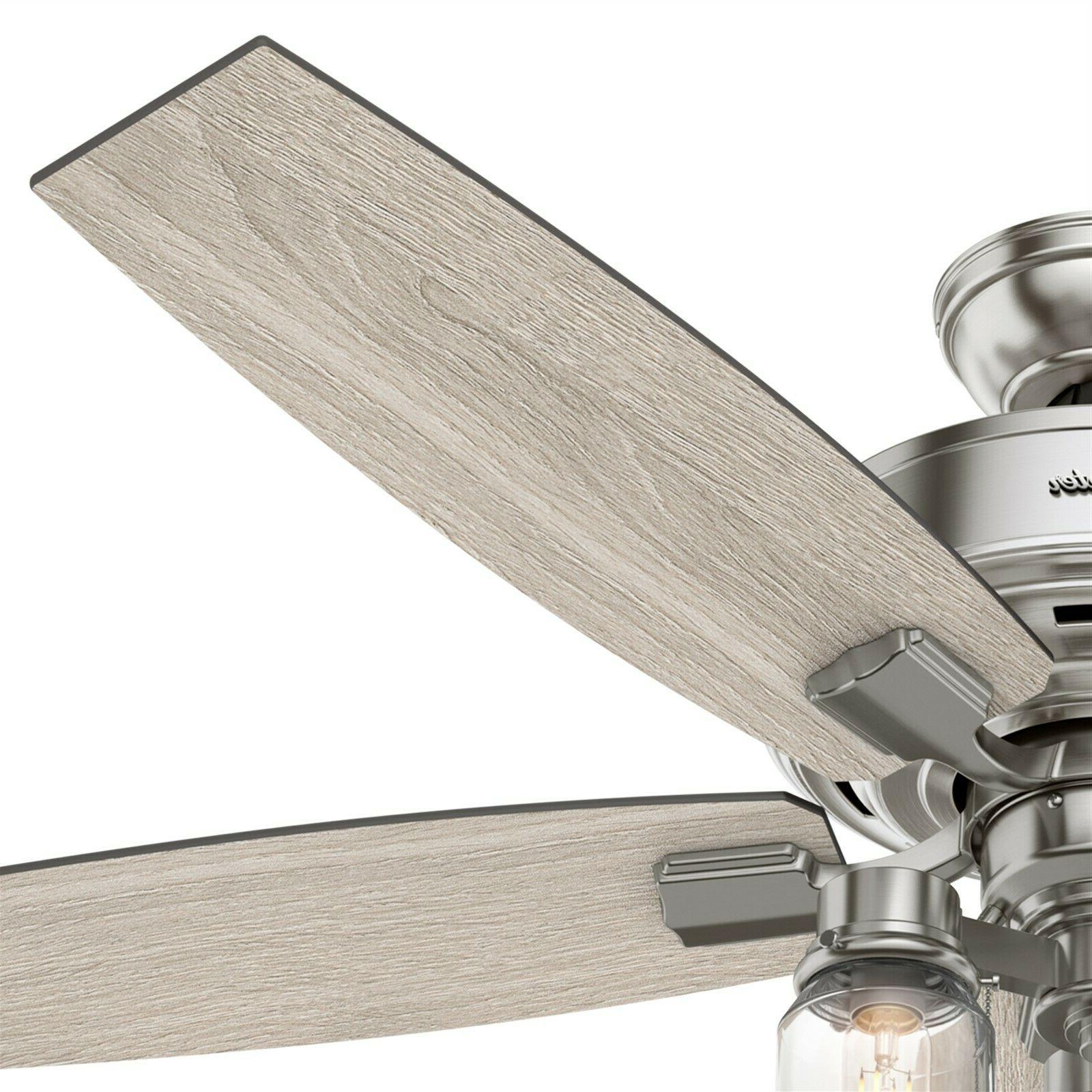 Hunter Brushed Nickel Ceiling with Lights