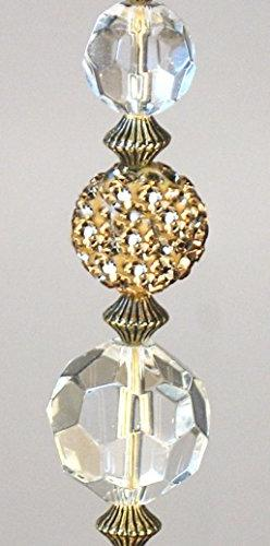 Glimmering Gold Rhinestone and Clear Crystal Glass Ceiling F