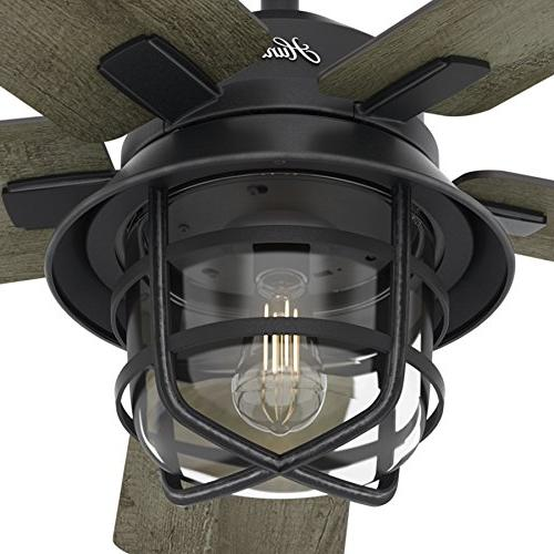 Hunter Zinc Outdoor Ceiling with Clear LED Remote