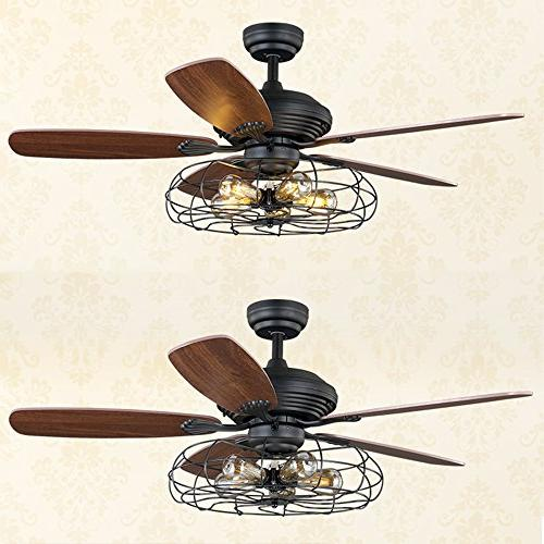 "Industrial 52"" Flush Ceiling Light - LITFAD Retro Ceiling Light with Fan Chandelier Pendant Light in in through Remote"