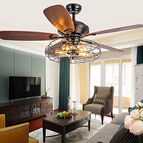 Industrial Fan Flush Light LITFAD Ceiling with Chandelier Cage in Style through Remote control,UL